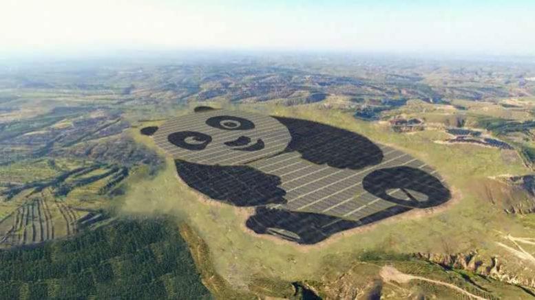impianto fotovoltaico a forma di panda in cina